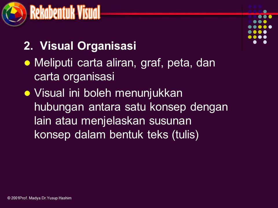 Meliputi carta aliran, graf, peta, dan carta organisasi