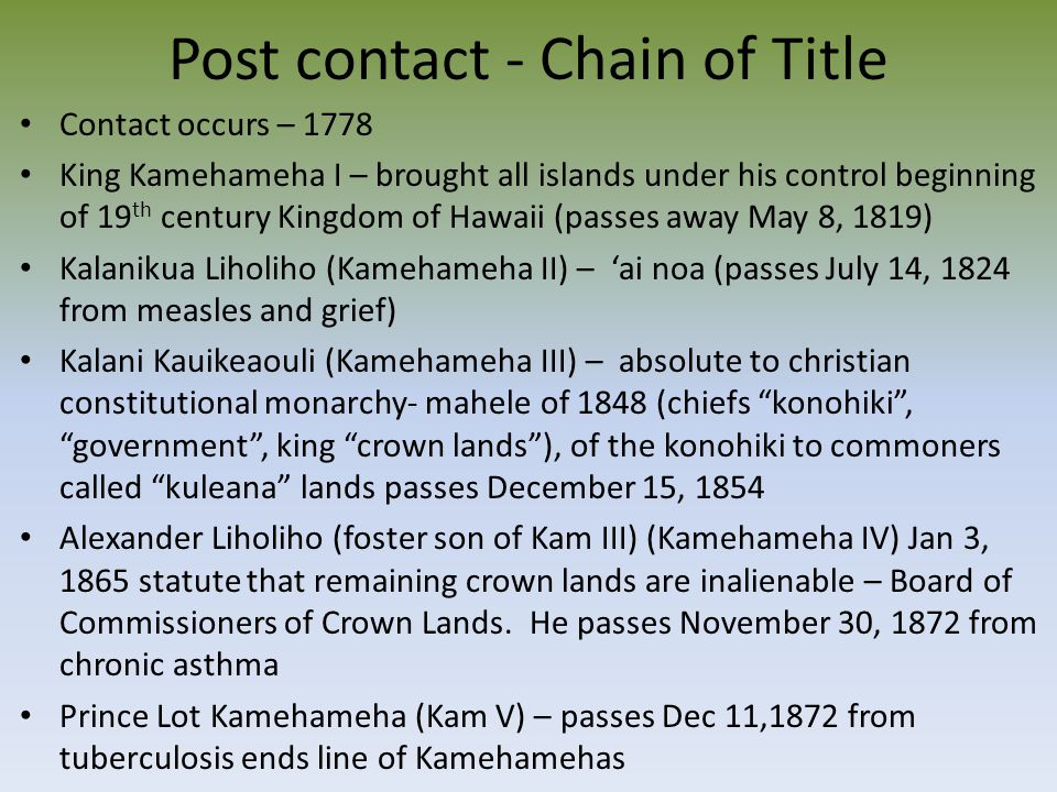 Post contact - Chain of Title