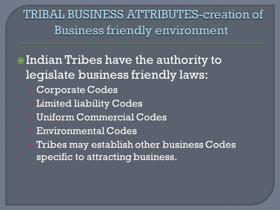 TRIBAL BUSINESS ATTRIBUTES-creation of Business friendly environment