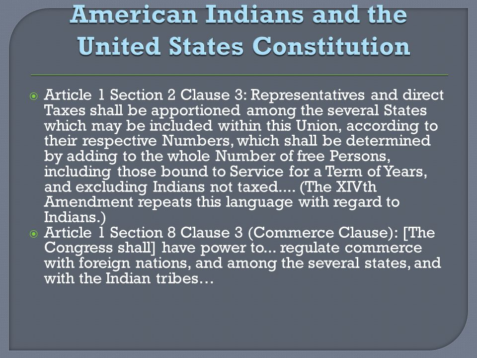 American Indians and the United States Constitution