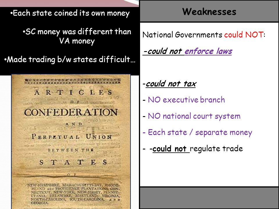Weaknesses Each state coined its own money