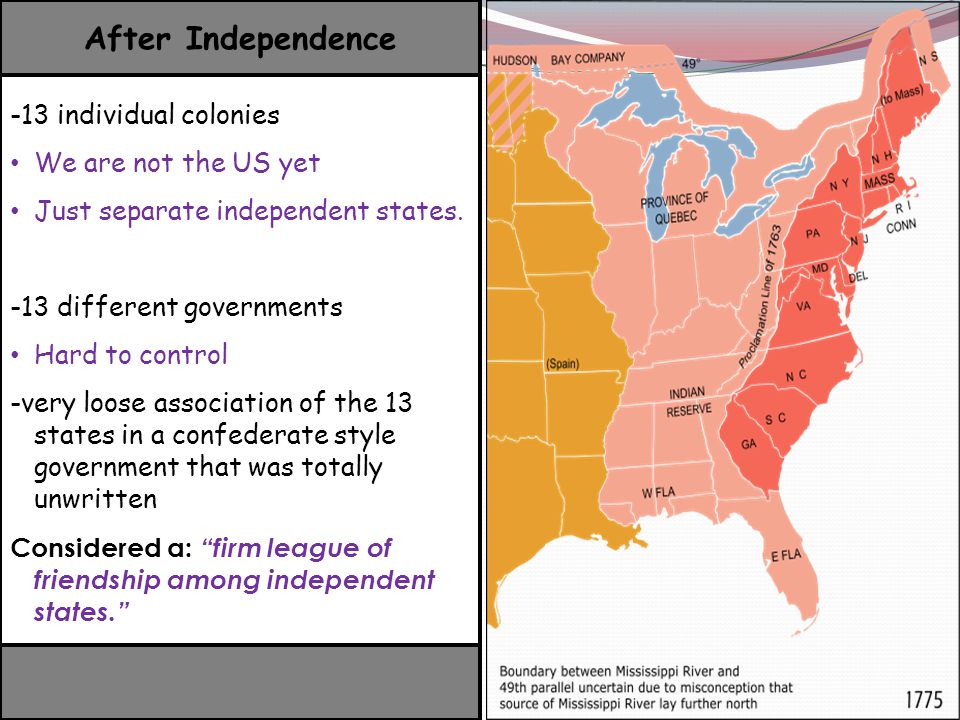 After Independence -13 individual colonies We are not the US yet