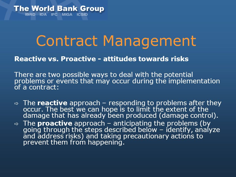 Contract Management Reactive vs. Proactive - attitudes towards risks