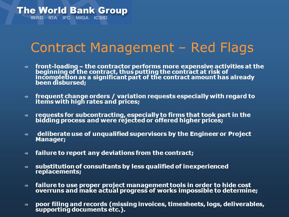 Contract Management – Red Flags