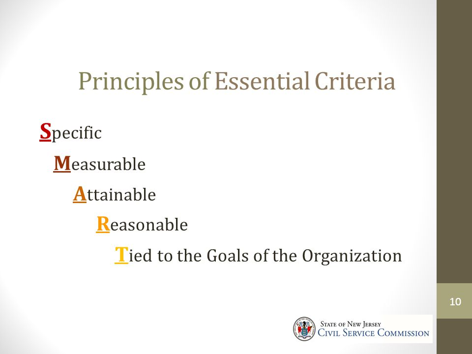 Principles of Essential Criteria