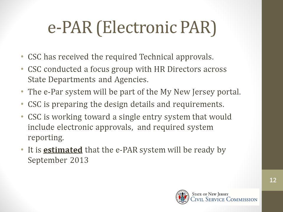 e-PAR (Electronic PAR)