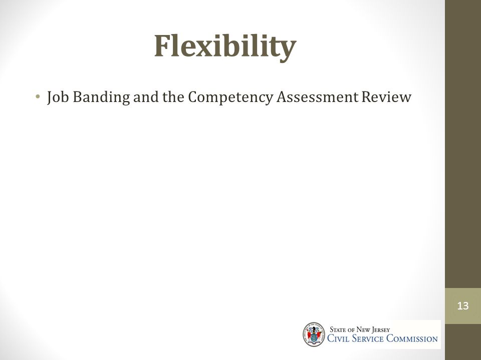 Flexibility Job Banding and the Competency Assessment Review 13