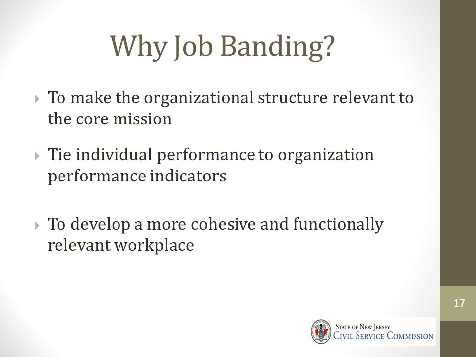 4/9/2017 Why Job Banding To make the organizational structure relevant to the core mission.