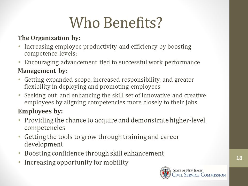 Who Benefits Employees by: