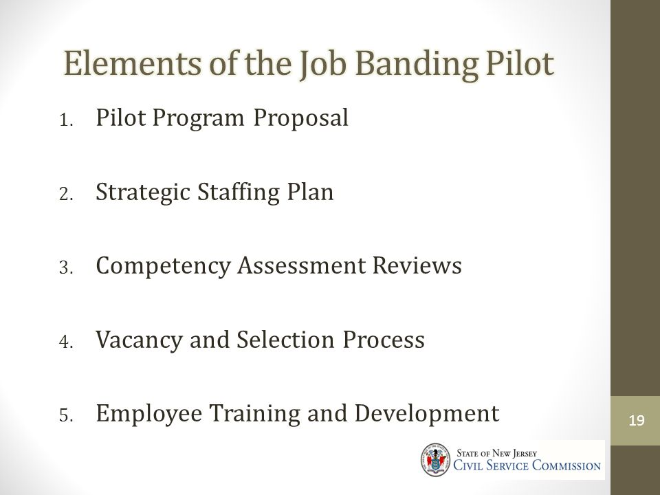 Elements of the Job Banding Pilot