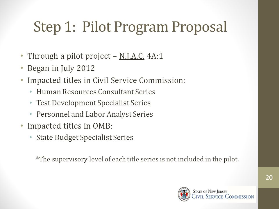 Step 1: Pilot Program Proposal