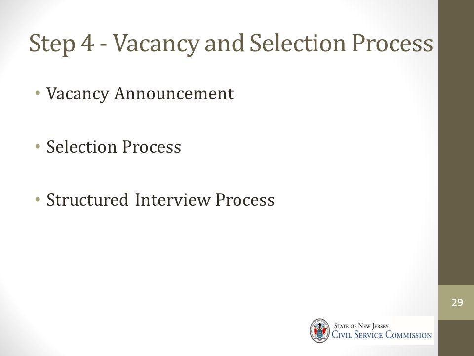 Step 4 - Vacancy and Selection Process