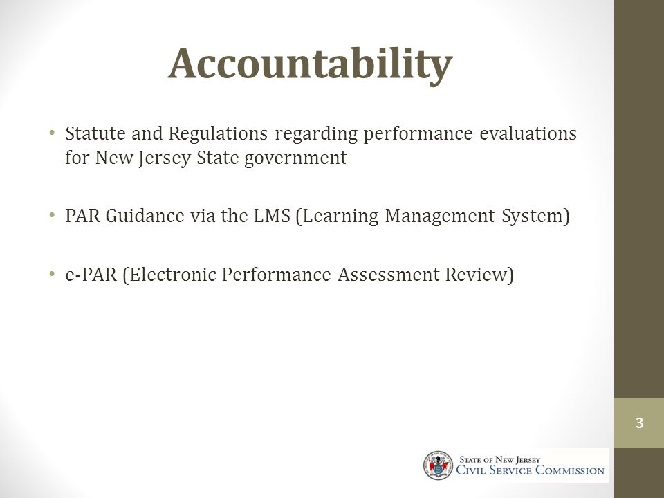 Accountability Statute and Regulations regarding performance evaluations for New Jersey State government.