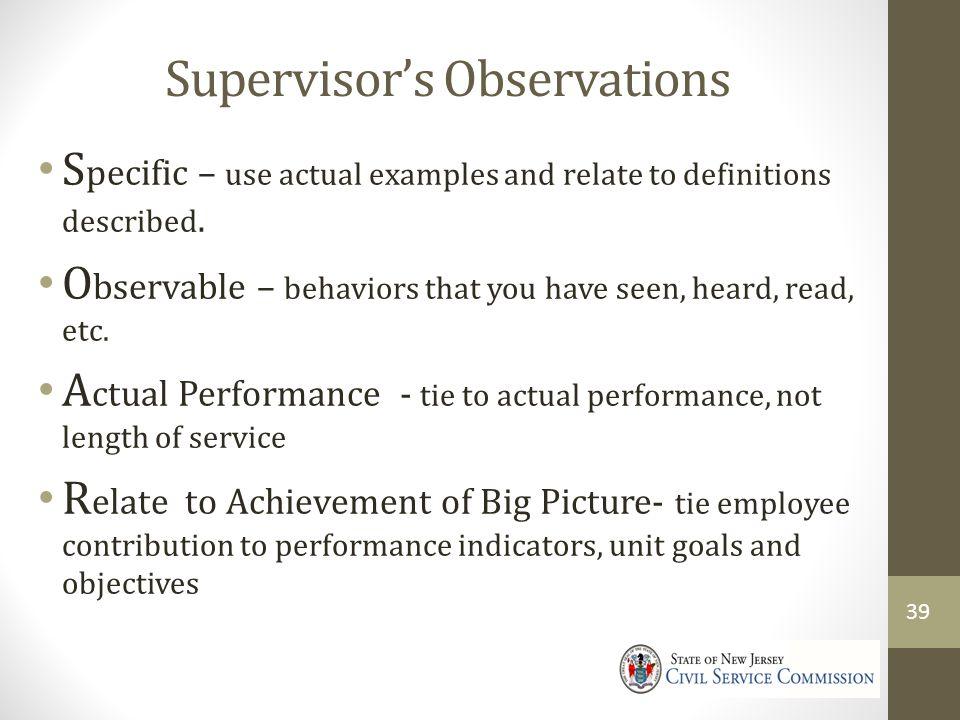 Supervisor's Observations