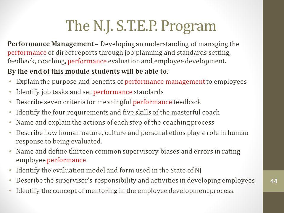 The N.J. S.T.E.P. Program