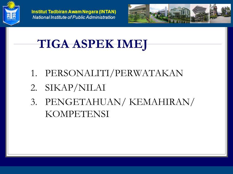 TIGA ASPEK IMEJ 1. PERSONALITI/PERWATAKAN 2. SIKAP/NILAI