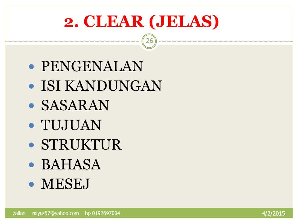 2. CLEAR (JELAS) PENGENALAN ISI KANDUNGAN SASARAN TUJUAN STRUKTUR