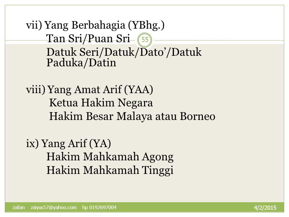 Datuk Seri/Datuk/Dato'/Datuk Paduka/Datin