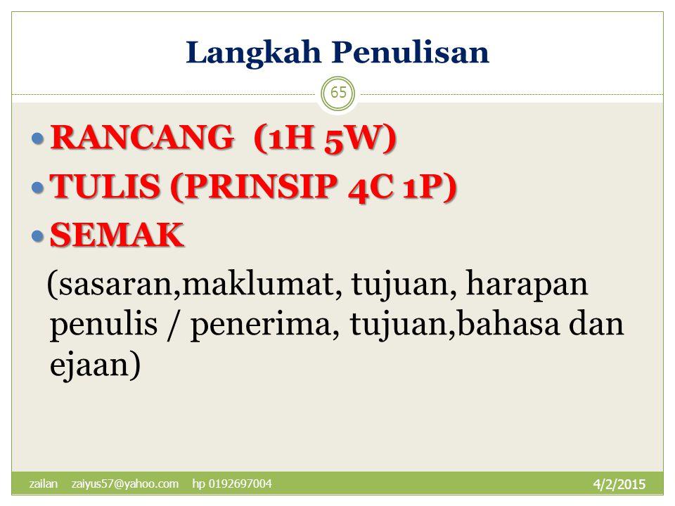 RANCANG (1H 5W) TULIS (PRINSIP 4C 1P) SEMAK