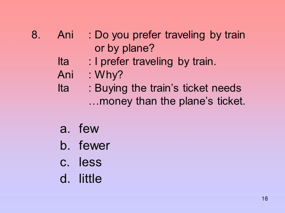 Ani. : Do you prefer traveling by train. or by plane. Ita