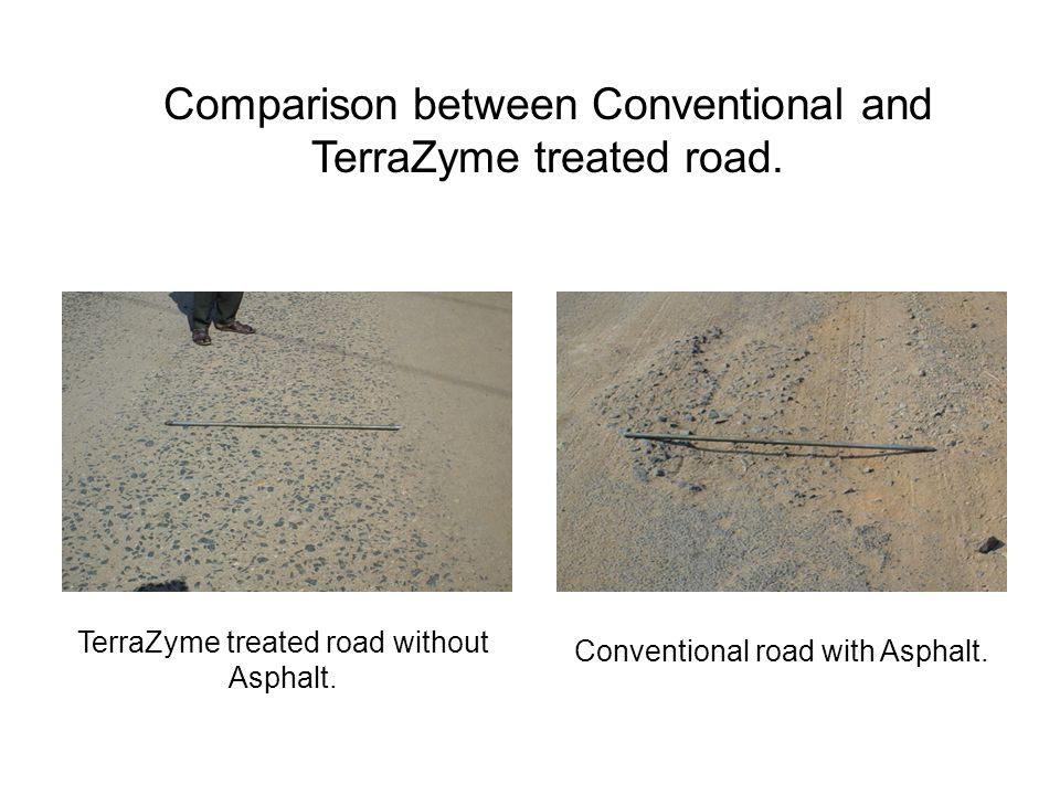 Comparison between Conventional and TerraZyme treated road.