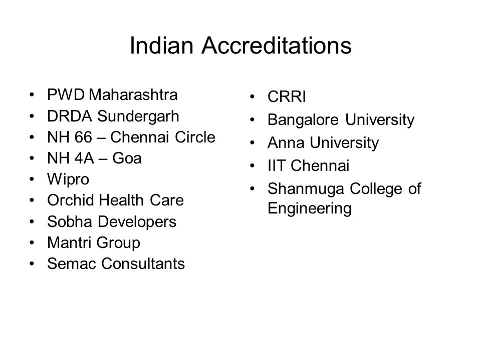 Indian Accreditations