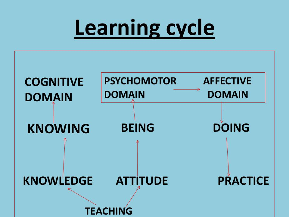 Learning cycle KNOWING COGNITIVE DOMAIN BEING DOING
