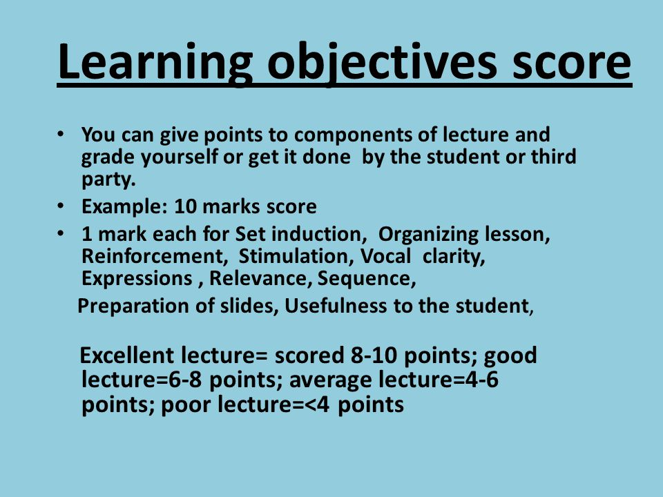 Learning objectives score