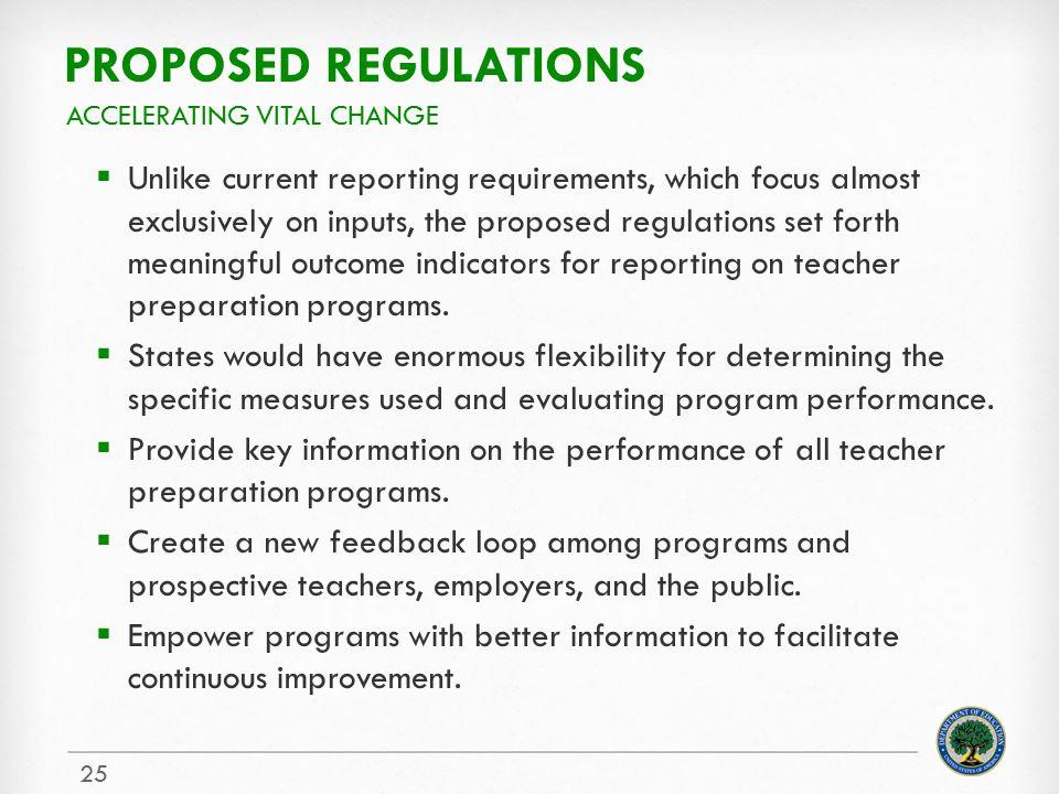 Proposed regulations Accelerating vital change.
