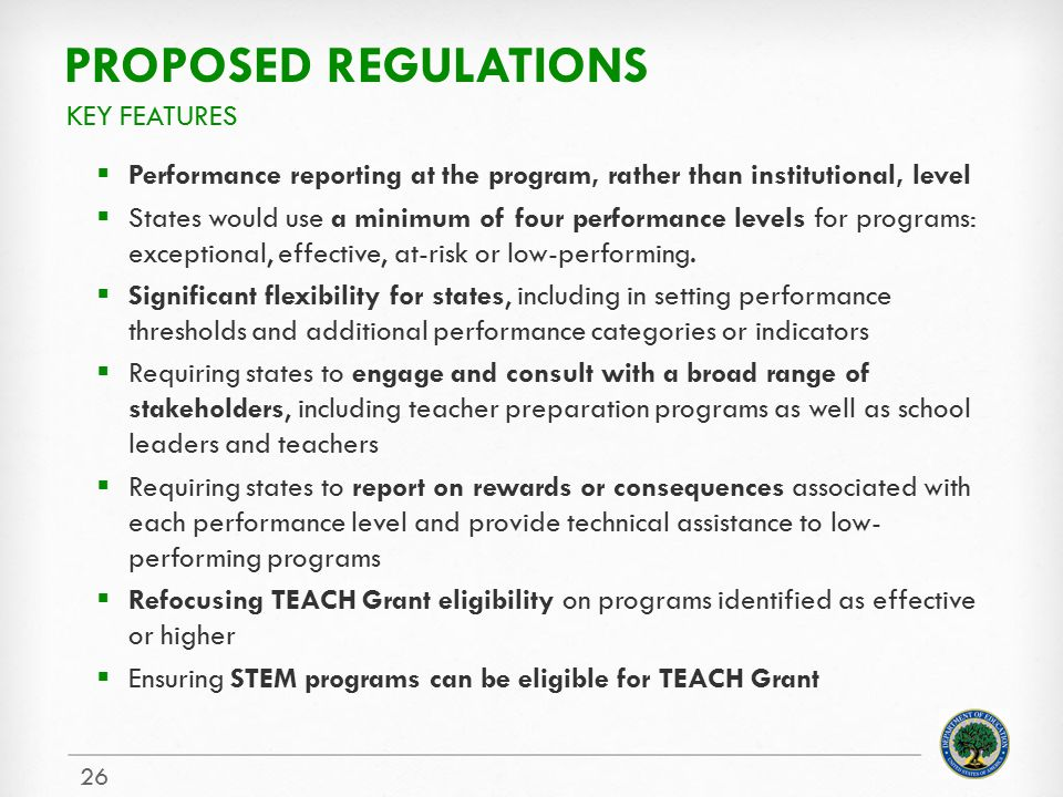 Proposed regulations Key features