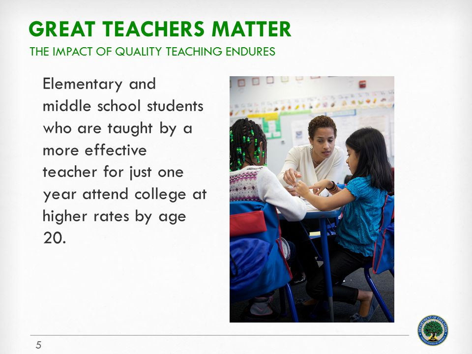 Great teachers matter The impact of quality teaching endures.