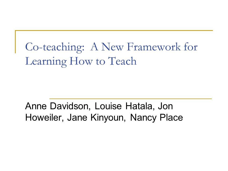 Co-teaching: A New Framework for Learning How to Teach