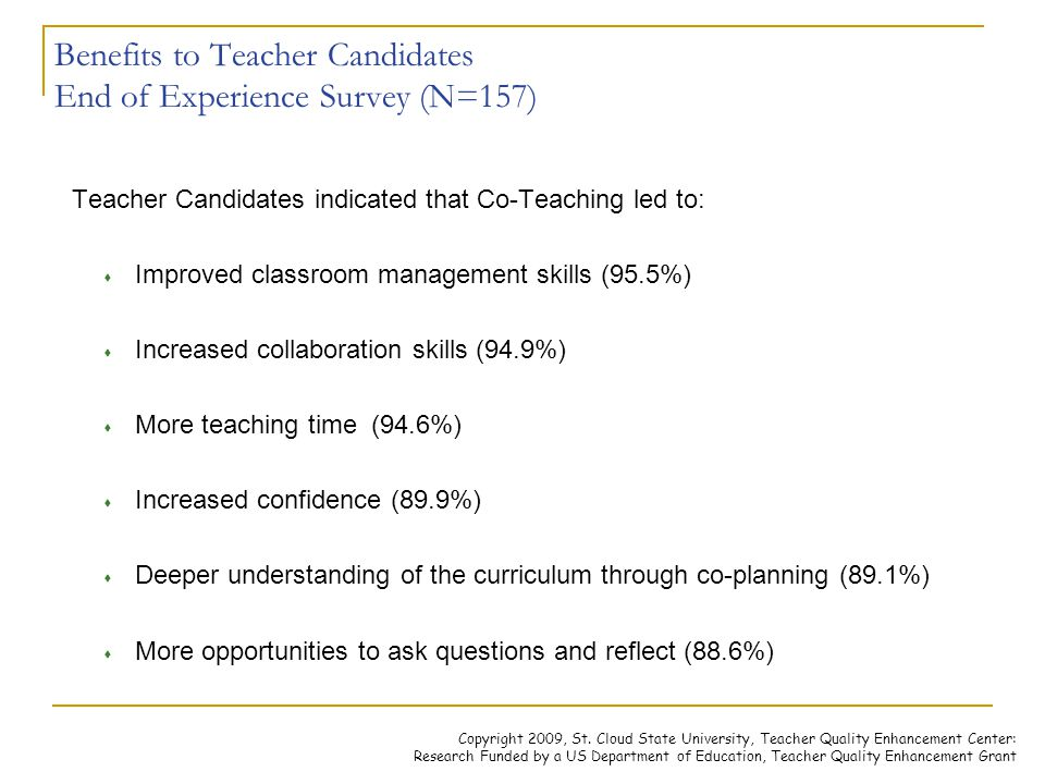 Benefits to Teacher Candidates End of Experience Survey (N=157)