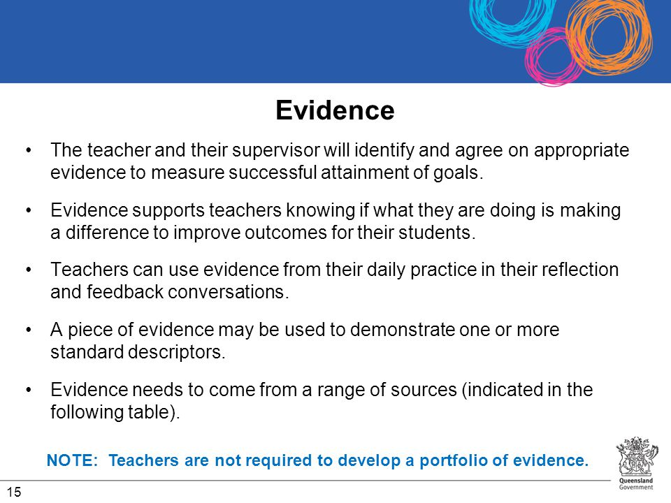 Evidence The teacher and their supervisor will identify and agree on appropriate evidence to measure successful attainment of goals.