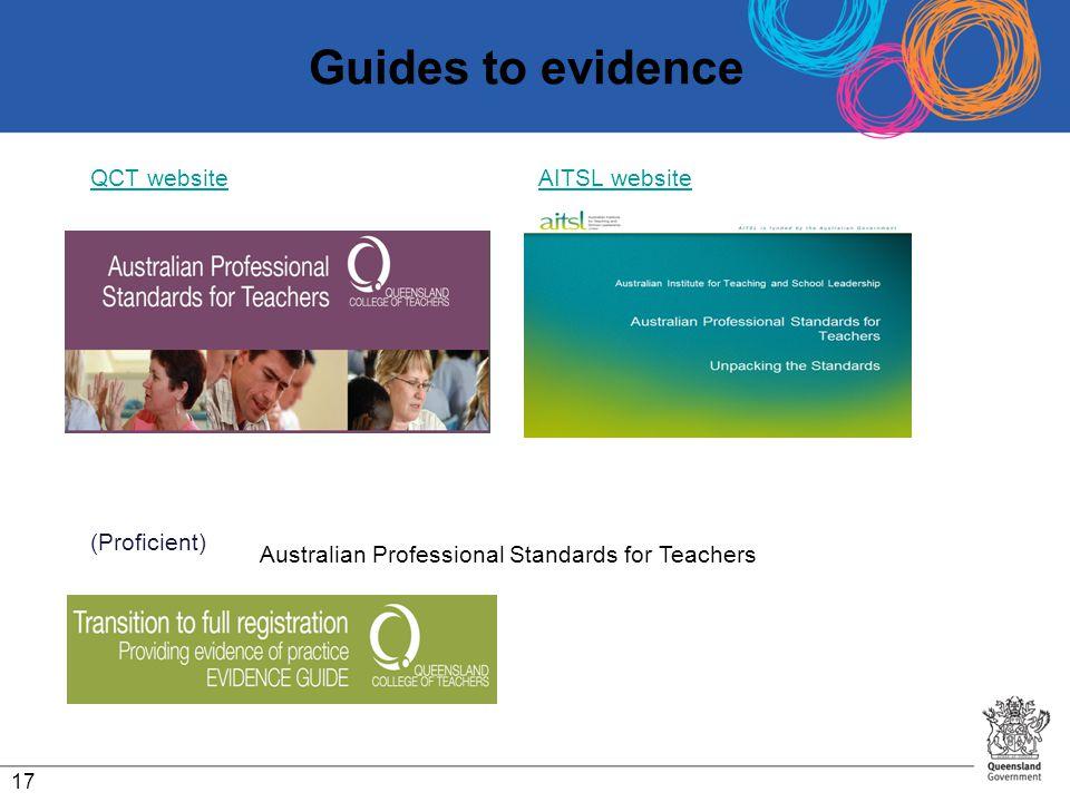 Guides to evidence QCT website AITSL website (Proficient)