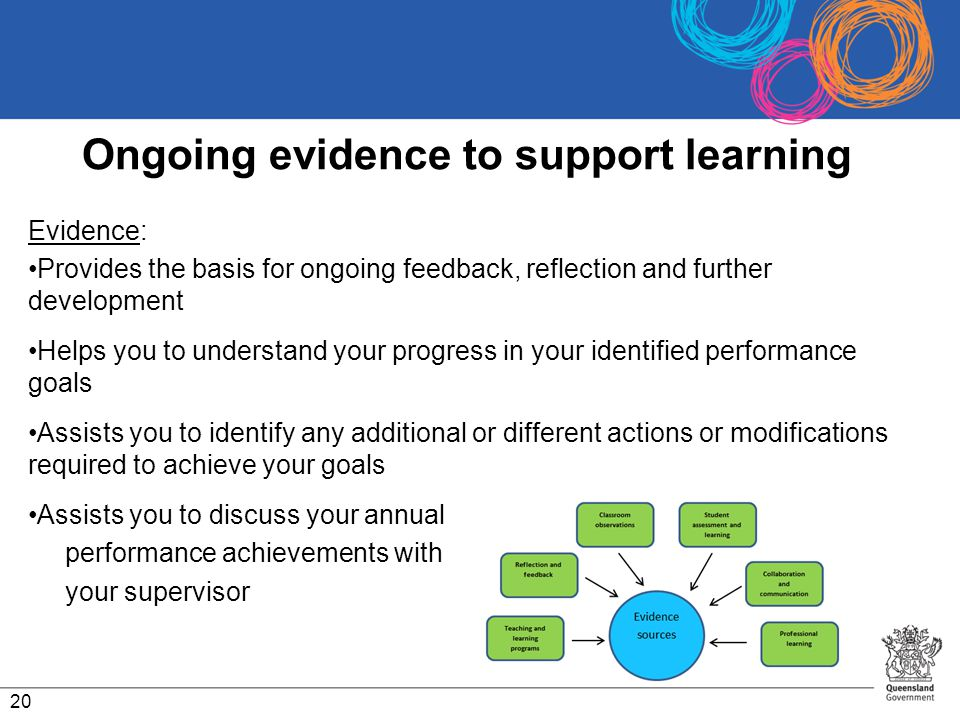 Ongoing evidence to support learning