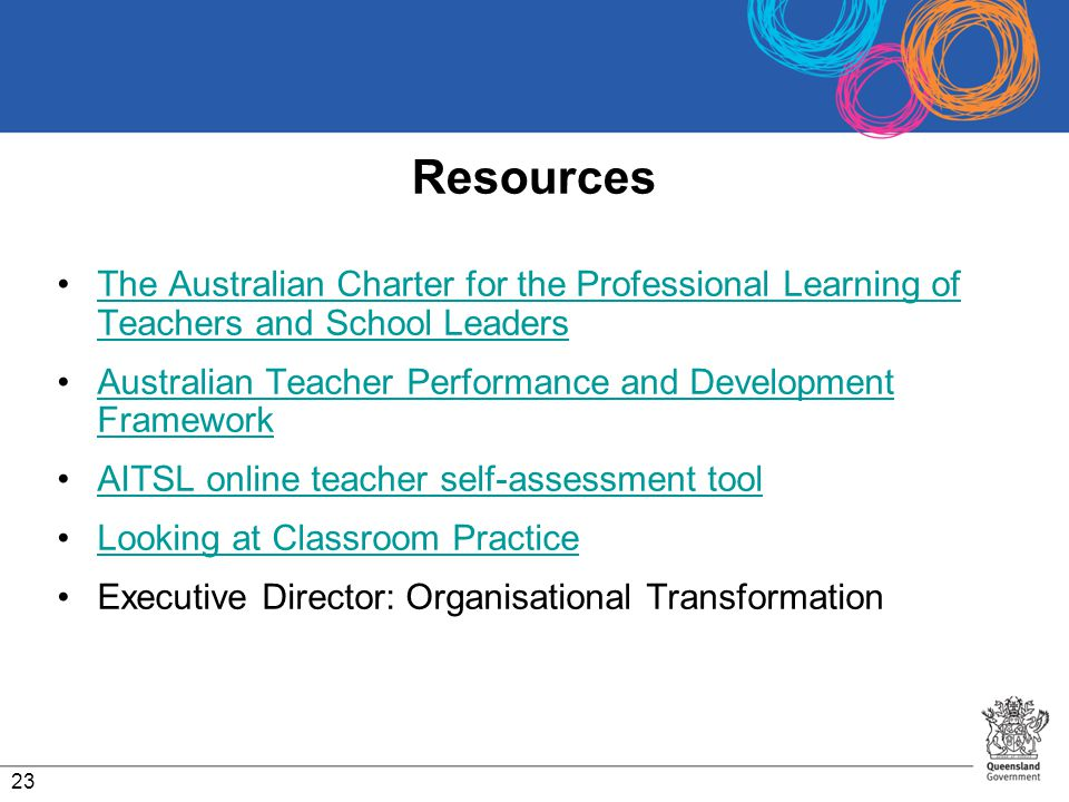 Resources The Australian Charter for the Professional Learning of Teachers and School Leaders.