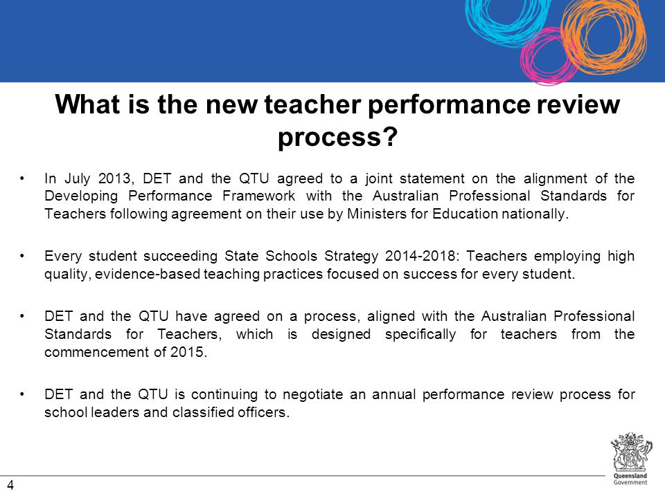 What is the new teacher performance review process