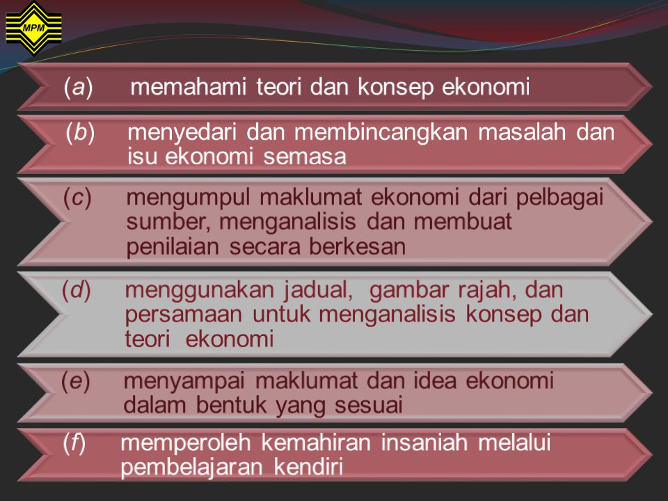 (a) memahami teori dan konsep ekonomi