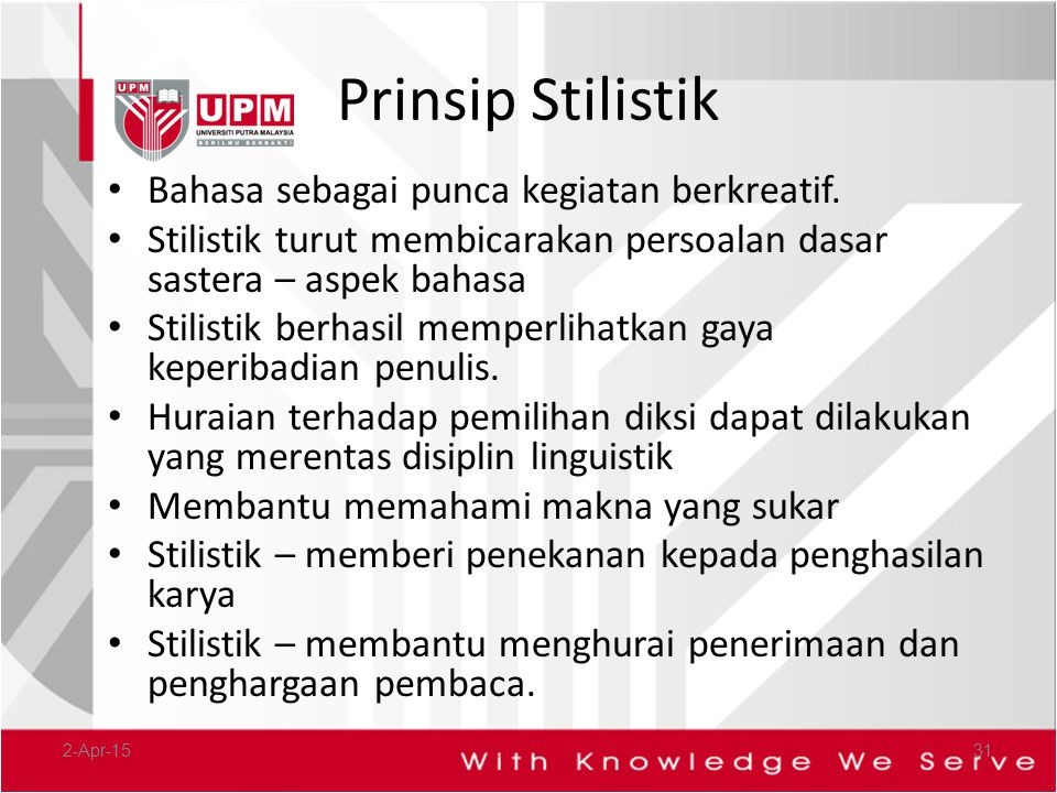 Prinsip Stilistik Bahasa sebagai punca kegiatan berkreatif.