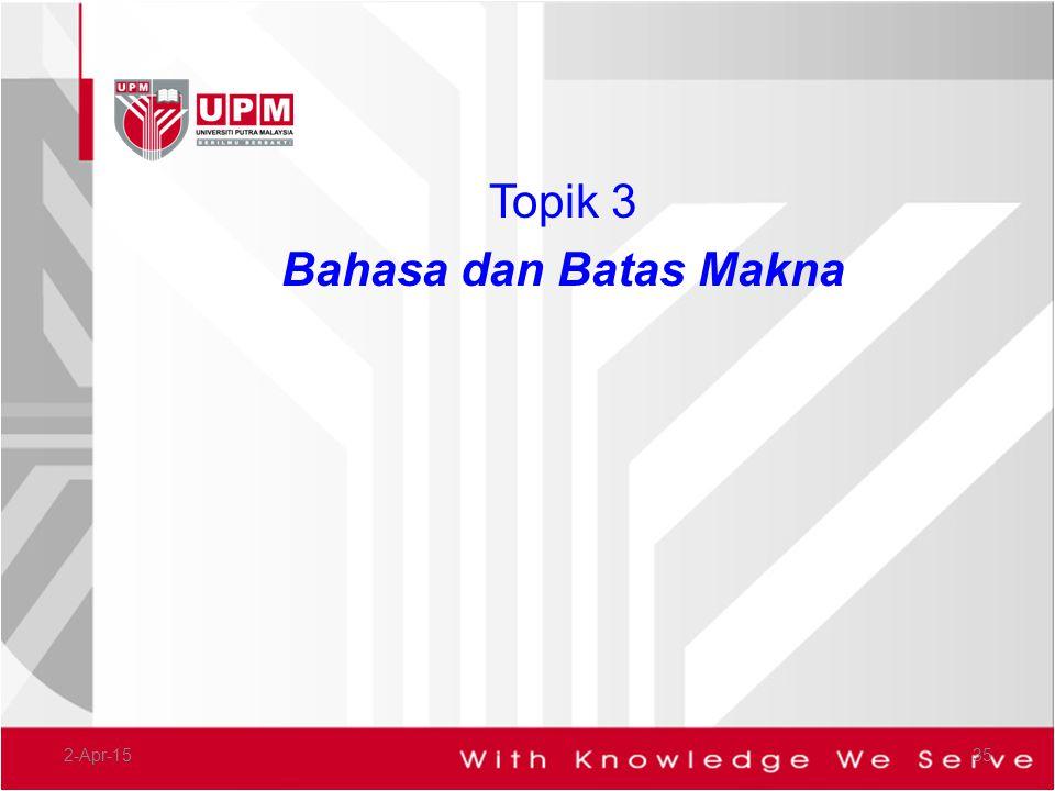 Topik 3 Bahasa dan Batas Makna 9-Apr-17