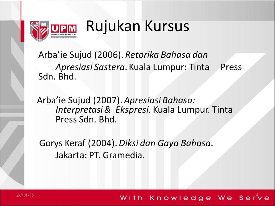 Rujukan Kursus Arba'ie Sujud (2006). Retorika Bahasa dan