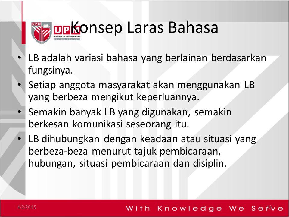 Konsep Laras Bahasa LB adalah variasi bahasa yang berlainan berdasarkan fungsinya.