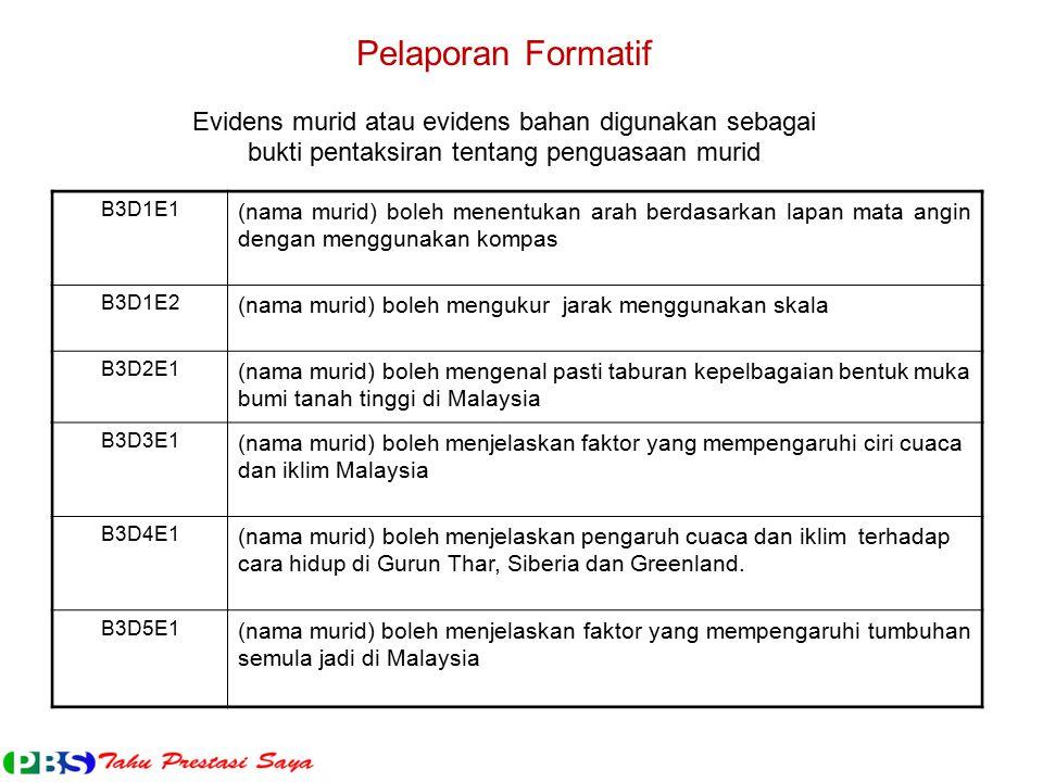 Pelaporan Formatif Evidens murid atau evidens bahan digunakan sebagai