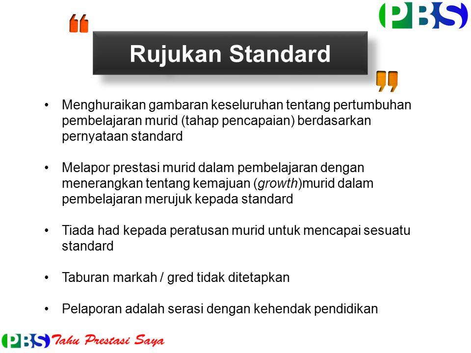 Rujukan Standard Menghuraikan gambaran keseluruhan tentang pertumbuhan pembelajaran murid (tahap pencapaian) berdasarkan pernyataan standard.
