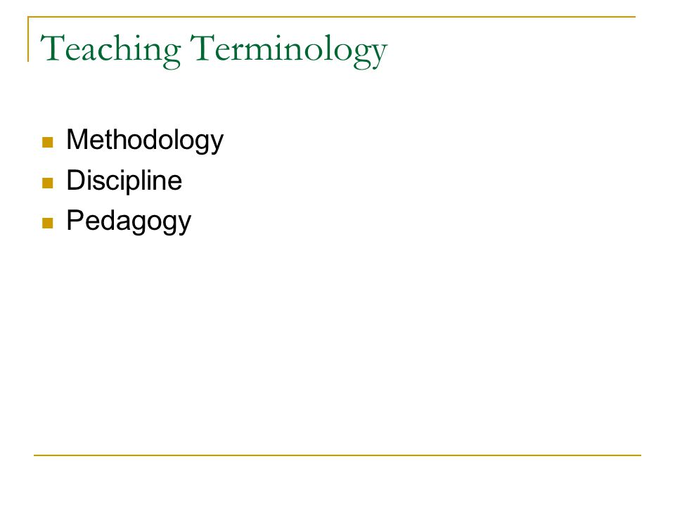 Teaching Terminology Methodology Discipline Pedagogy