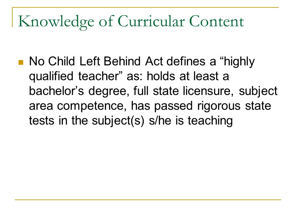 Knowledge of Curricular Content