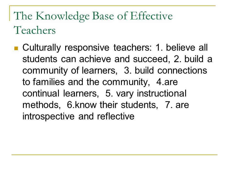 The Knowledge Base of Effective Teachers