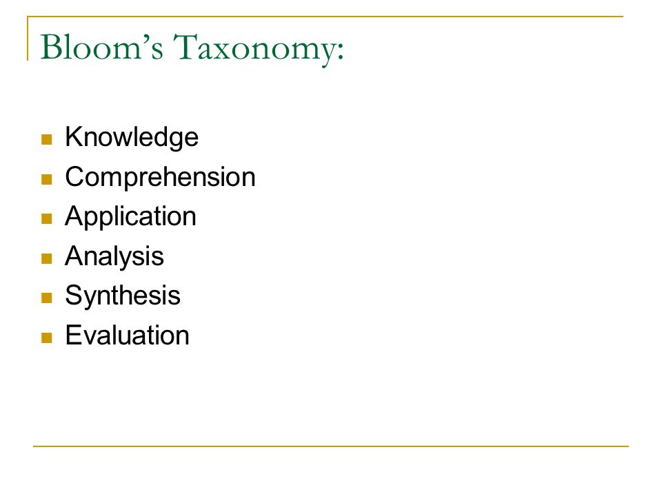 Bloom's Taxonomy: Knowledge Comprehension Application Analysis