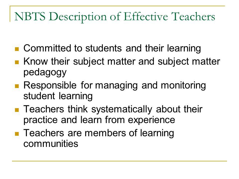 NBTS Description of Effective Teachers